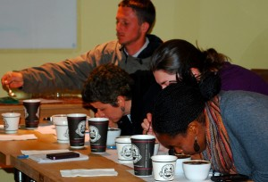 Participants at the 2012 AgroEco / Santa Cruz Coffee Roasting Company cupping event at New Leaf Community Market