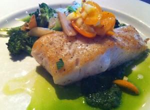 Halibut dinner entree on Wed May 29, 2013 at Santa Cruz restaurant Oswald