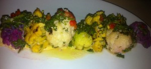 Delicious Mojo Cauliflower at Aptos restaurant Booka, open on Christmas