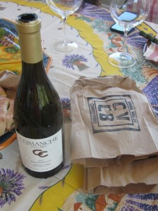 Wine from Comanche Cellars and bread from Carmel Valley Country Bread, featured at Terranova Saturday