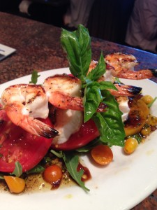 Heirloom Tomato Salad with grilled shrimp addition at Lark Creek Walnut Creek