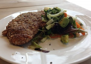 Nut-crusted chicken and salad with lemon herb vinaigrette from Chef Lauren's Sugar Solutions class