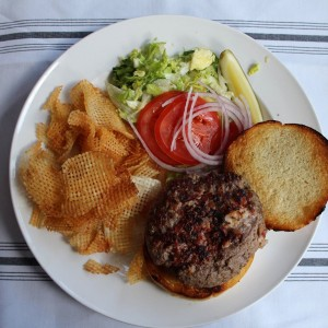 Hideout Burger served with housemade chips (note: it's usually served with fries)