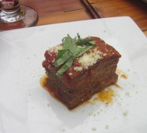 Melanzane alla Parmigiana (Mama's homemade Eggplant Parmigiana recipe), one of the featured dishes at Casa Nostra's July wine dinner