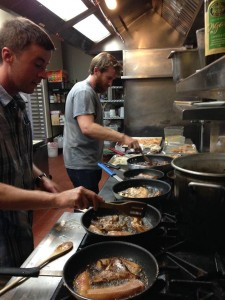 Charlie & Ian grilling up miso sablefish at the first Pescetarian PopUp. Photo courtesy of Ocean2table