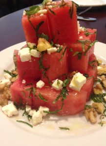 Mozaic's watermelon-feta salad tower with walnuts, Photo by Tara Fatemi Walker