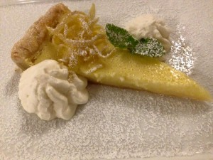"Lemon buttermilk tart from a late October ""New Releases"" dinner at Pino Alto Restaurant"