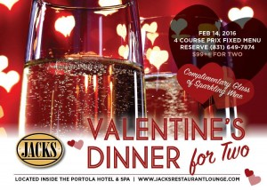 Jacks Restaurant is offering Valentine's Day dinner for tw