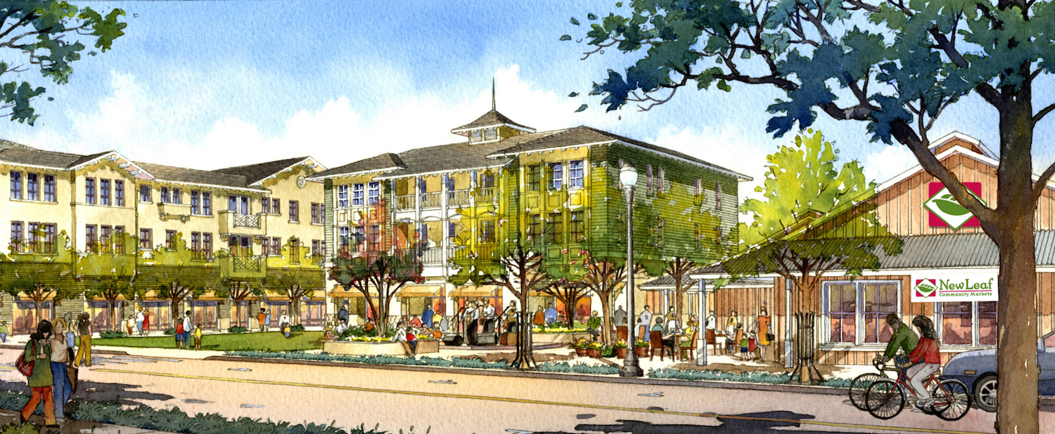 Artist's rendering of Aptos Village green and New Leaf Community Markets store