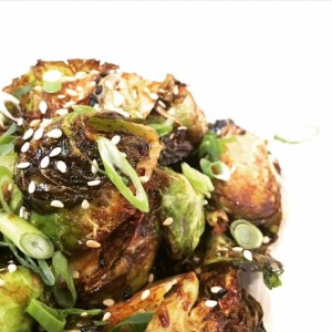 Crispy Brussels, miso, Vermont maple, sesame at East End Gastropub as photographed by Eat Drink Santa Cruz