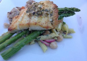 Ocean2Table lingcod that was dry cured, then cooked to perfection, with asparagus and Parmesan/bean salad at a July 2015 Pescetarian PopUp