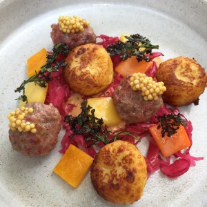 A dish at Restaurant 1833 in February: corned beef meatballs with potato dumplings, fermented butternut squash, red cabbage, pickled mustard seed, and caramelized whey. Mother's day is a rare exception to Restaurant 1833's dinner-only hours