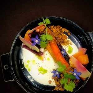Almond yogurt with root vegetables at California Market at Pacific's Edge. Photo courtesy of Hyatt Carmel Highlands
